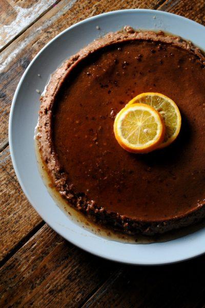 Flan de Chocolate y Naranja